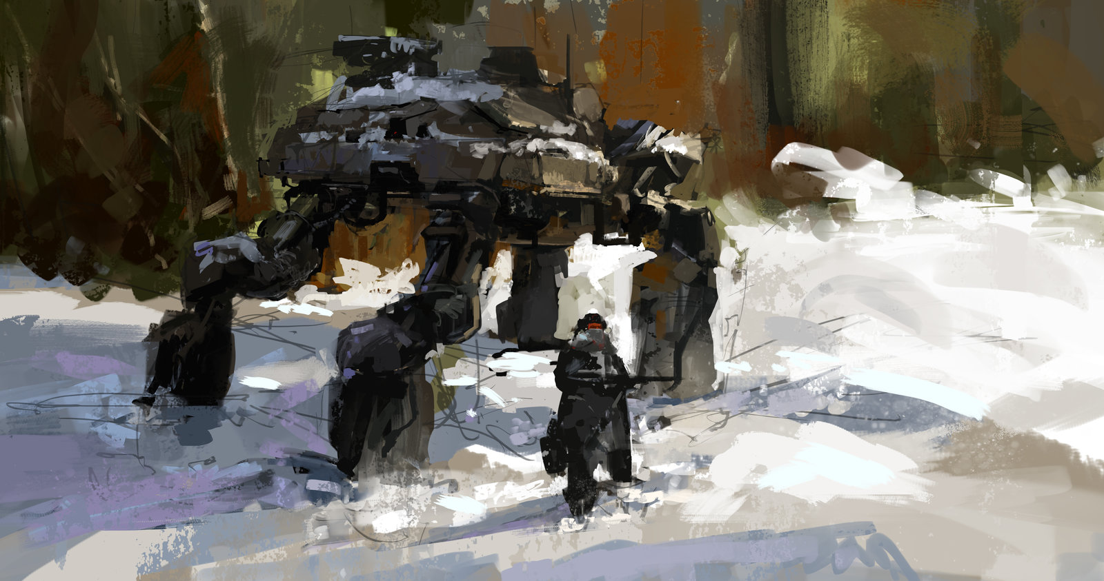 Lunch Time Sketch - Mech In Snow