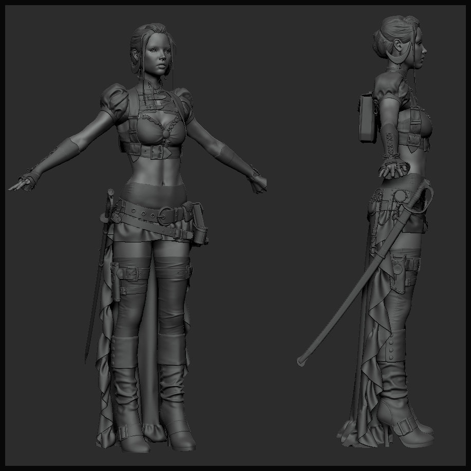 Steampunk Girl WIP