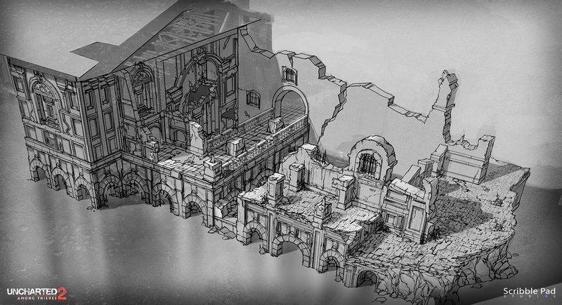 Scribble Pad Studios - Uncharted 2 - Environment Concept Design