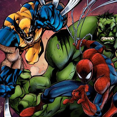 Matt james joe madureira rules wolvie spidey and the hulk by mattjamescomicarts d97pxxh