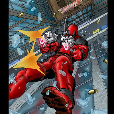 Matt james deadpool takes a dive by mattjamescomicarts d71kscl