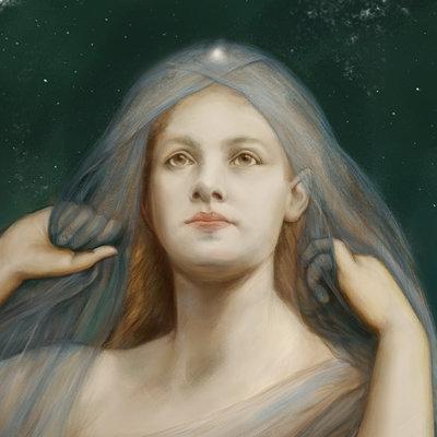 Master Study of angel portrait by Gabriel Von Max