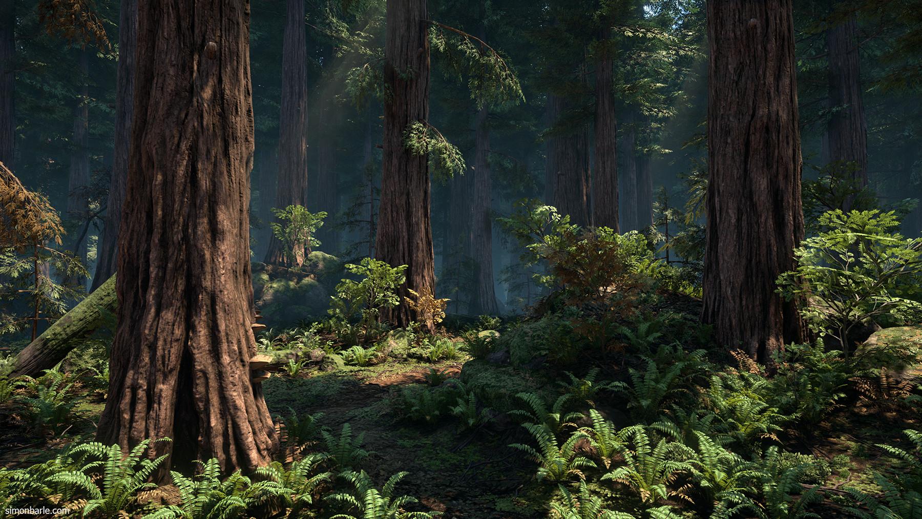 artstation redwood forest ue4 simon barle