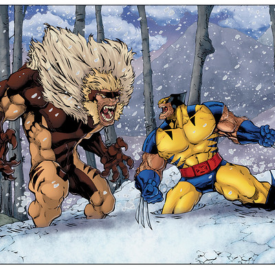 Matt james wolverine vs sabertooh by mattjamescomicarts d9gvpo9