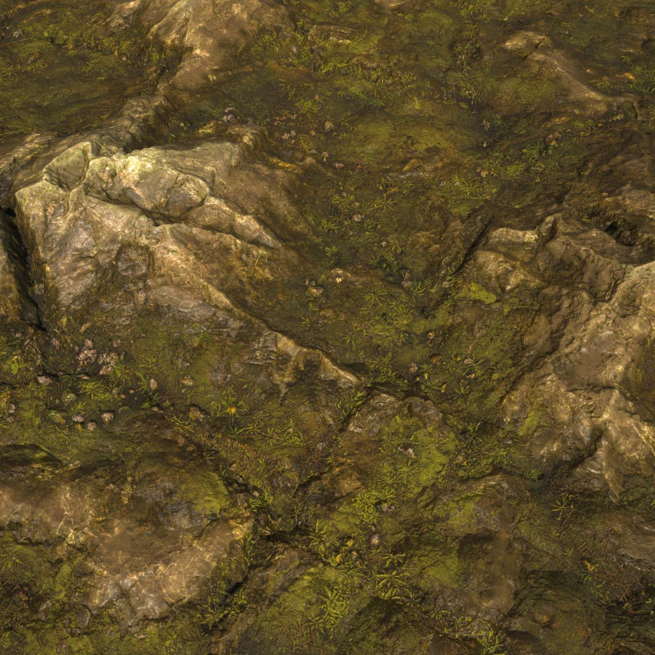 Substance_Designer - 100% procedural Mossy Rock Revisited