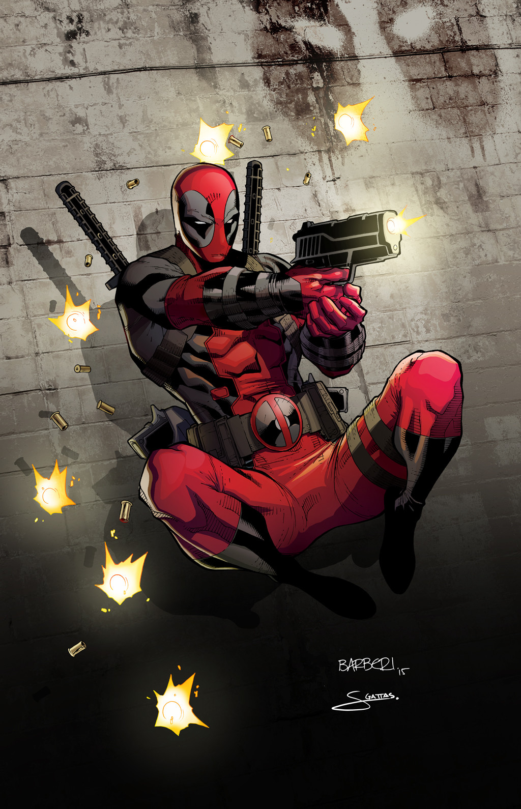 this deadpool was drawn as a comission by carlo barberi and i had the honor of coloring it for production it was offered as a print at a comic book event - Comic Book Coloring