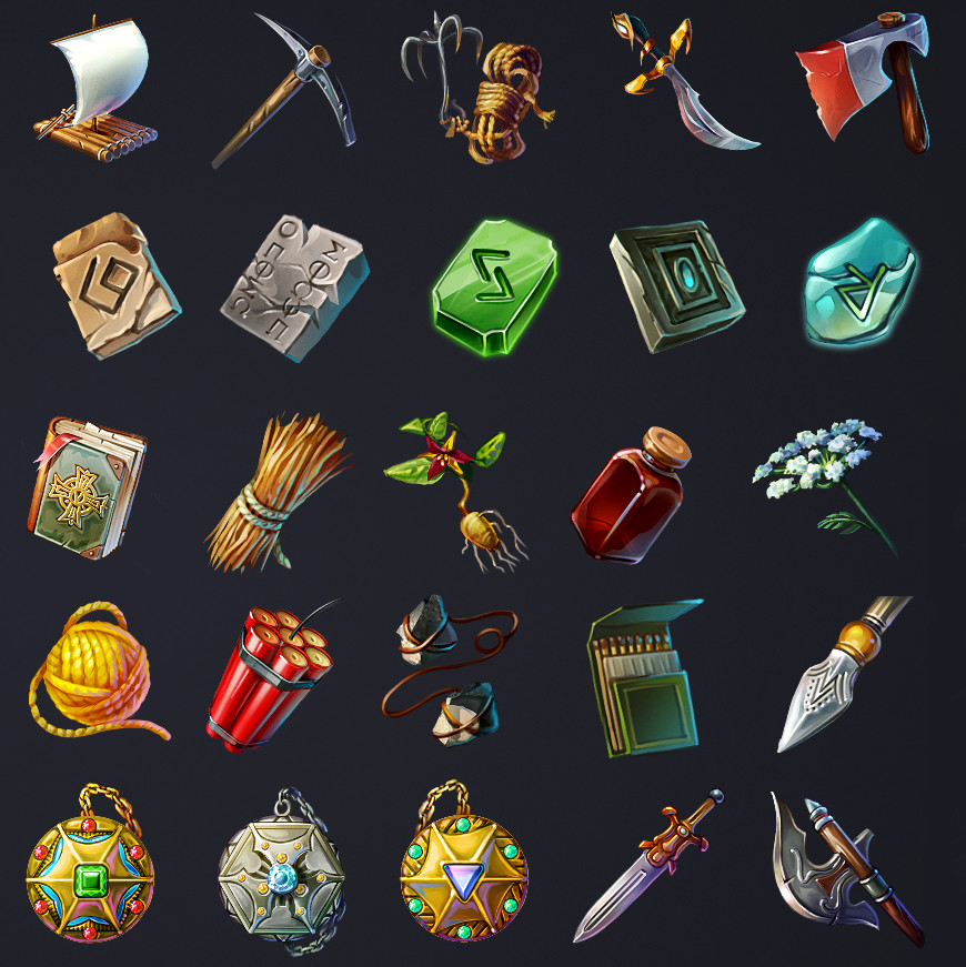 artstation runefall match3 game icons retrostyle games
