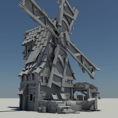 Windmill- clay renders and topology (W.I.P.)