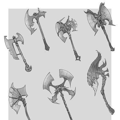 Peter rocque weapons axe designs