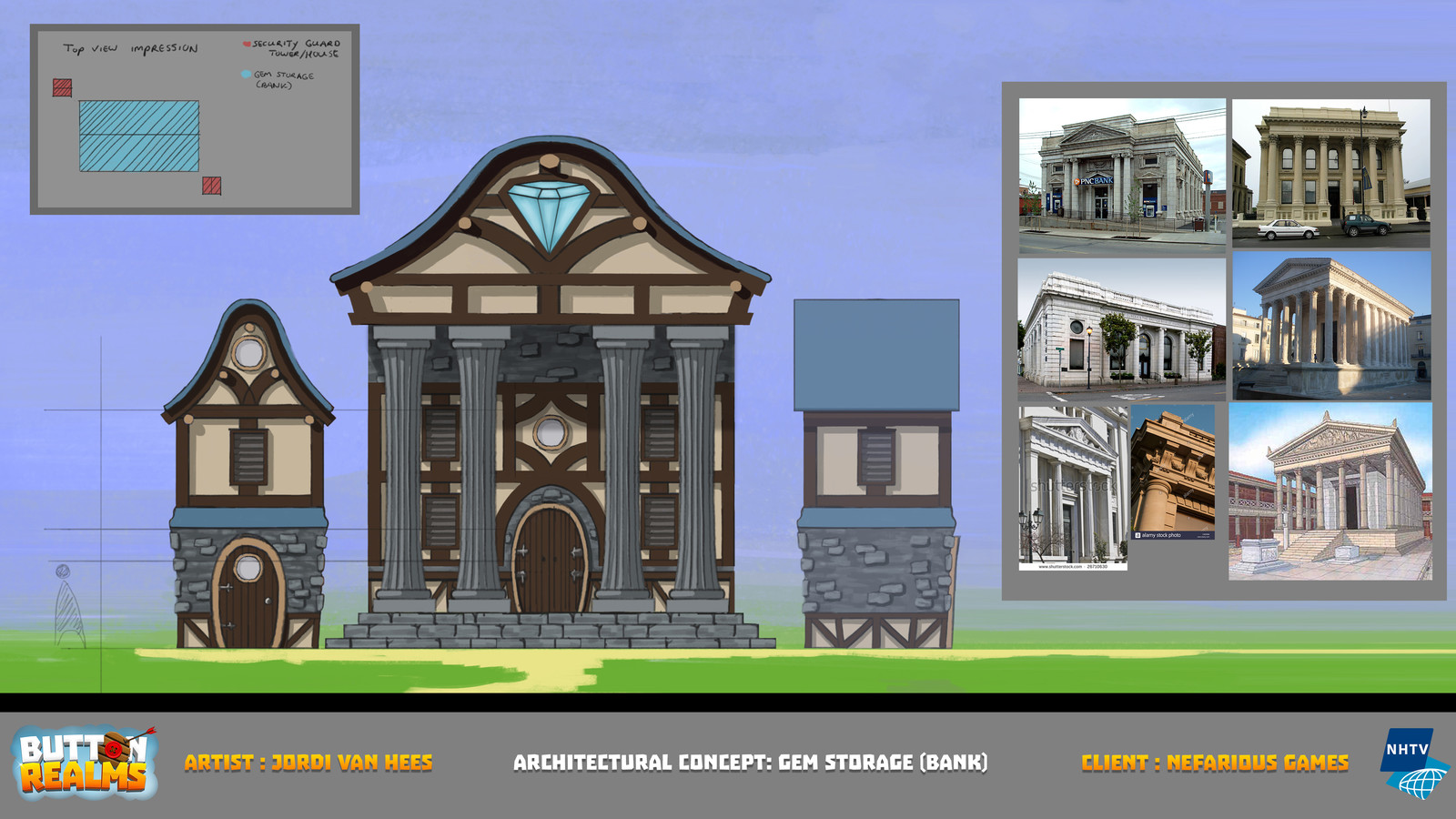 "Architectural concept work for ""Button Realms"""