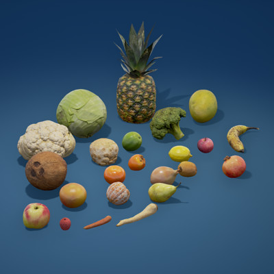 Photoscanned fruits and vegetables