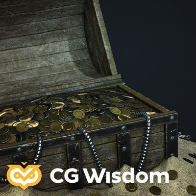 Gold treasure chest - CG Wisdom game-art course