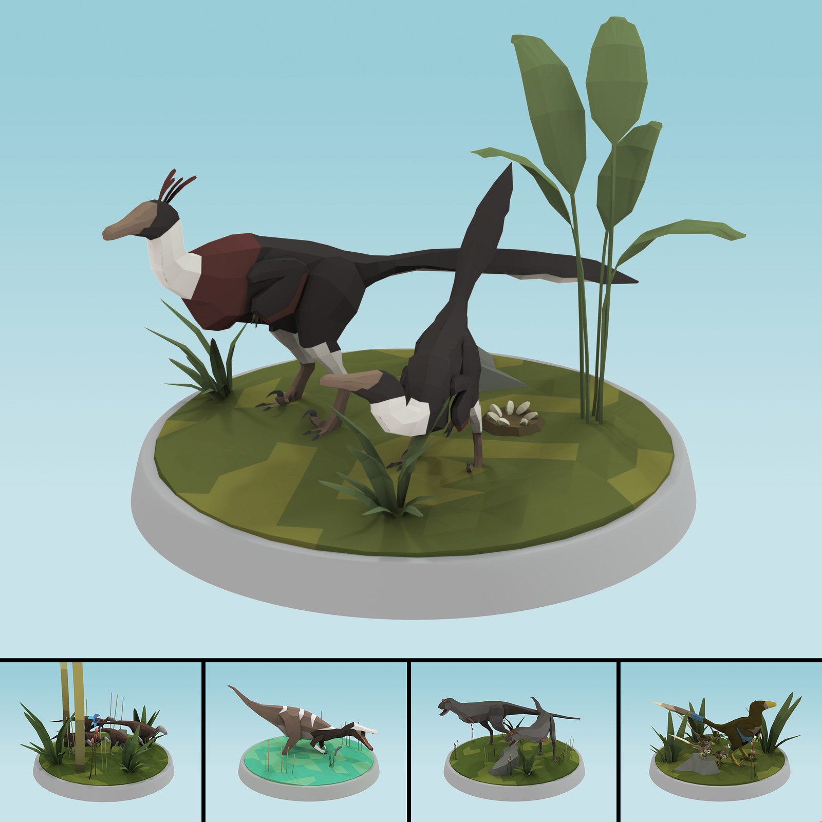 Low poly figure dinosaurs