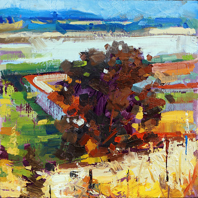 Sean hsiao viansa winery triplet part 1 8x8 oil on wood panel 07222014