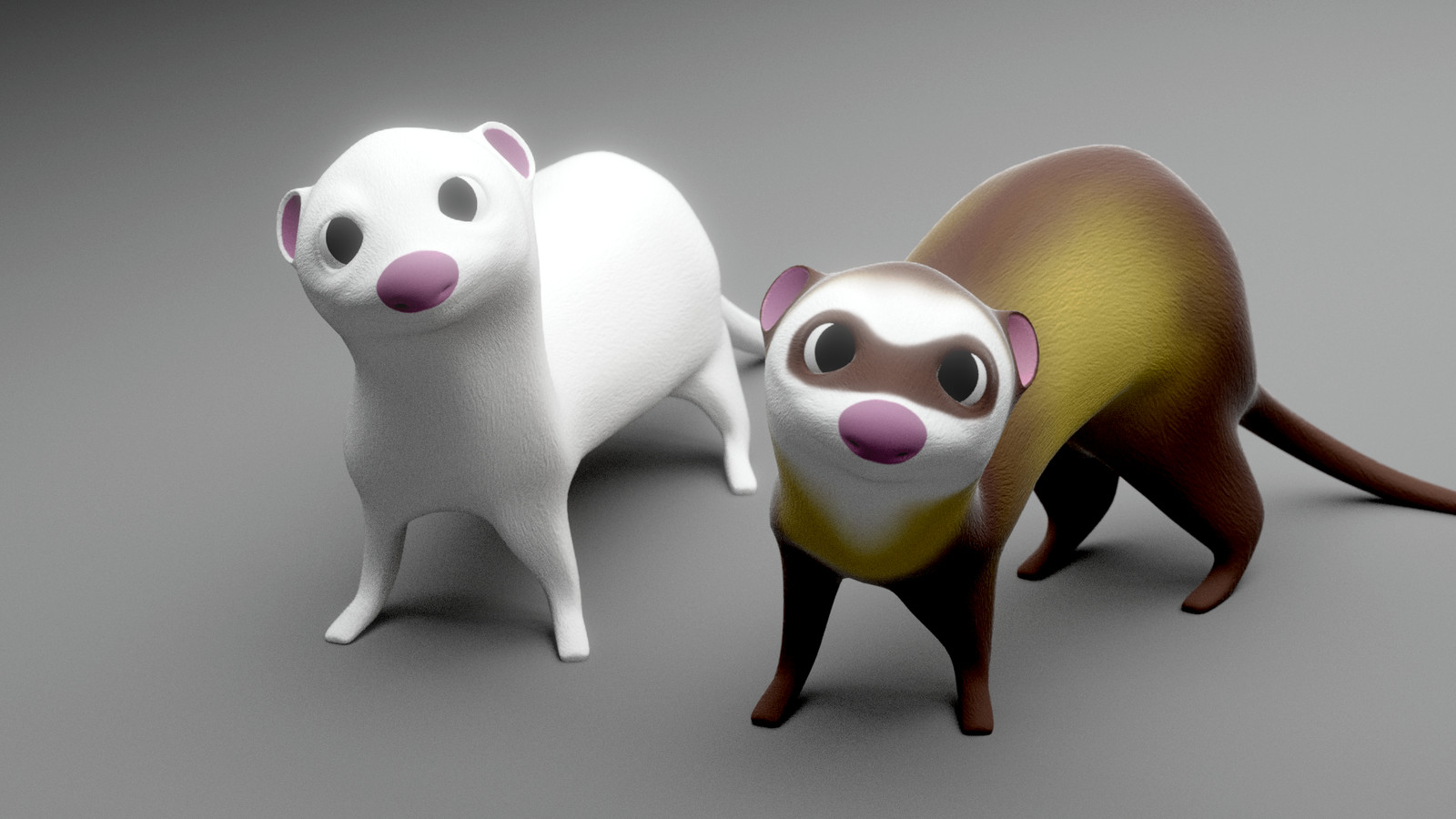Rigged cartoon ferret