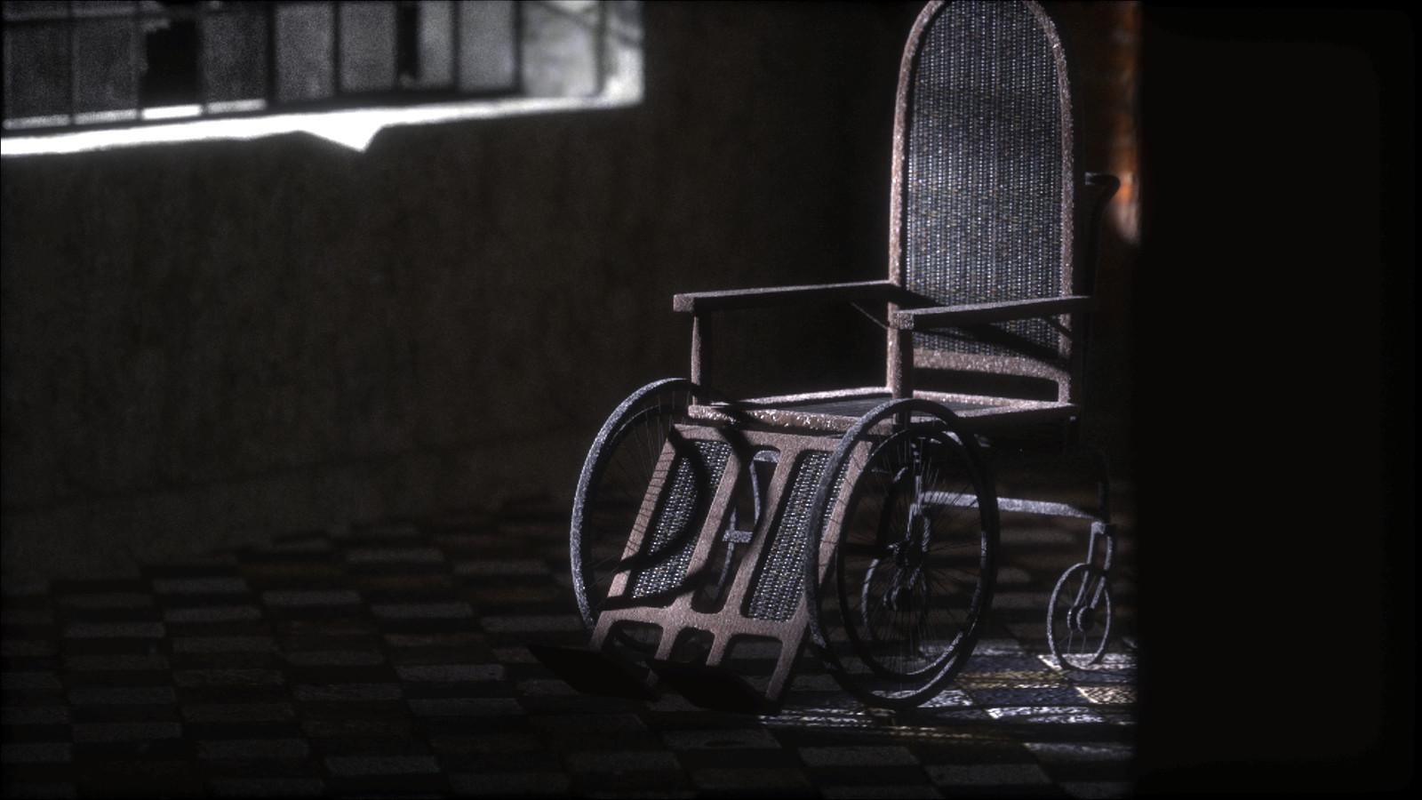 Rigged vintage wheelchair