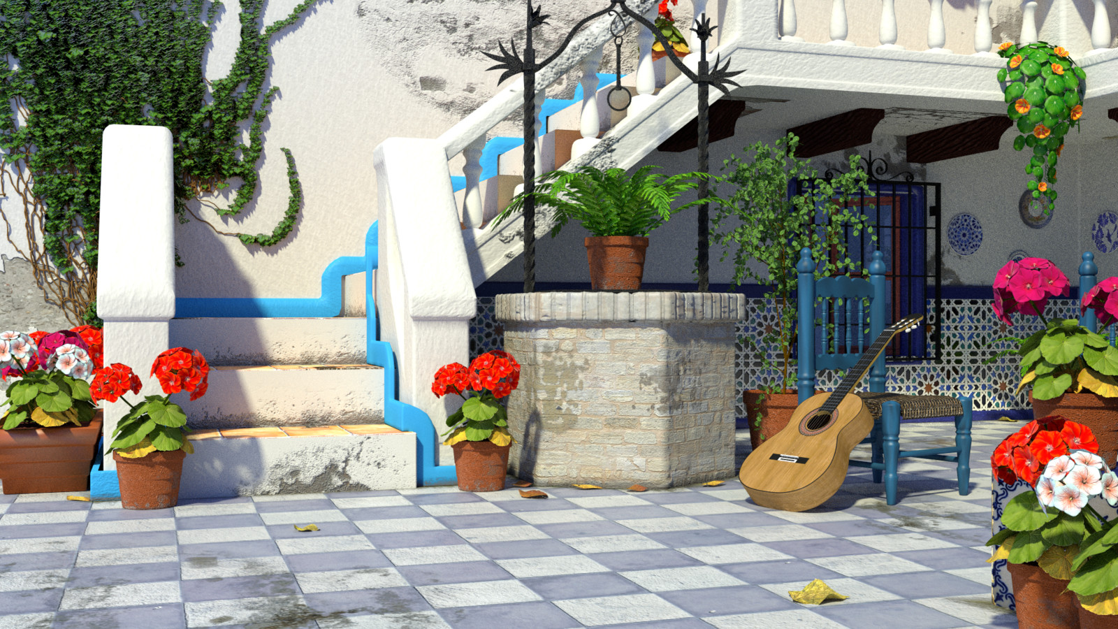 Andalusian Courtyard Scene