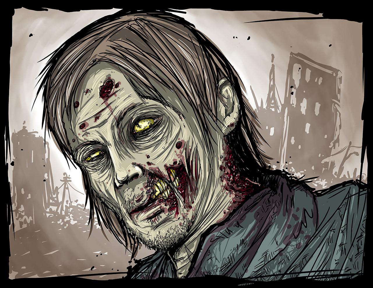 Custom Zombie Portrait - Norman Reedus from The Walking Dead!