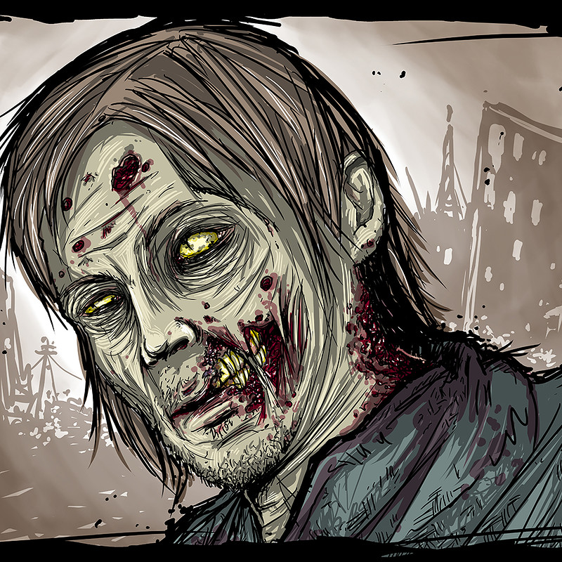 Custom Zombie Portrait - Norman Reedus from The Walking Dead!