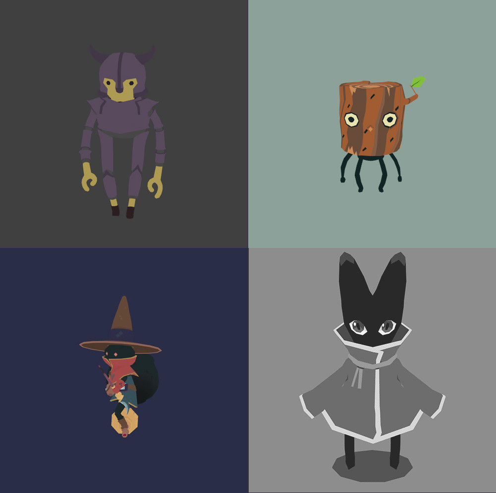 Various low poly characters