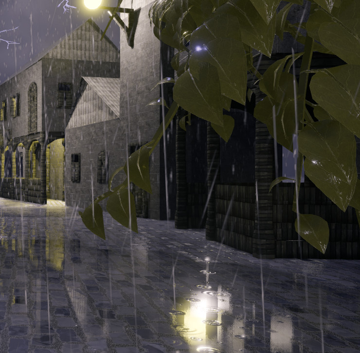 ArtStation - Rainy scene with procedural house, ivy and lightning on