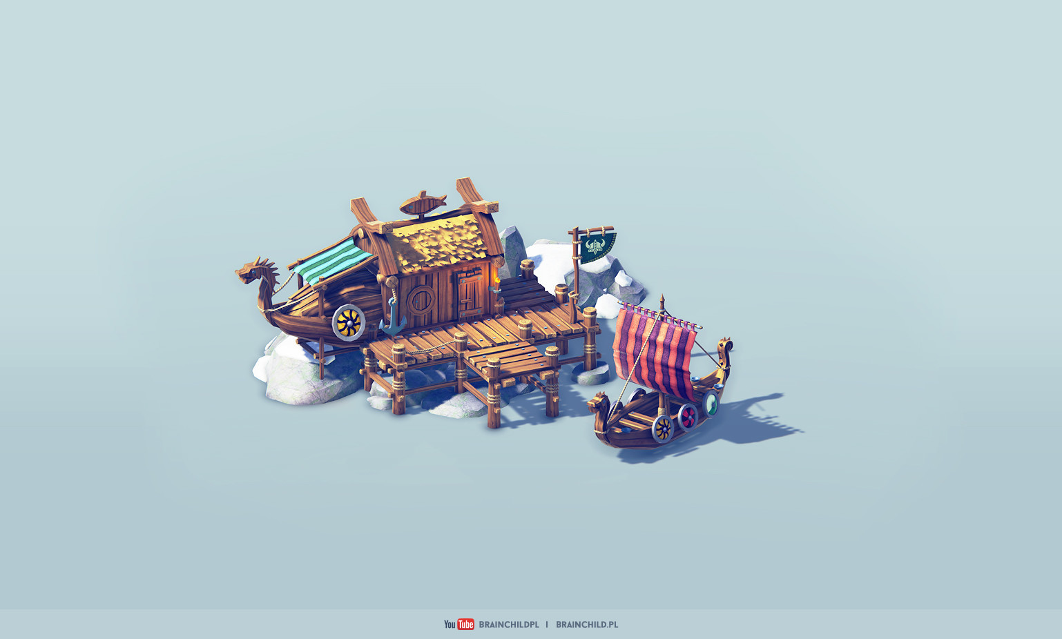 Cartoon 3d Viking Buildings (low poly & game-ready)