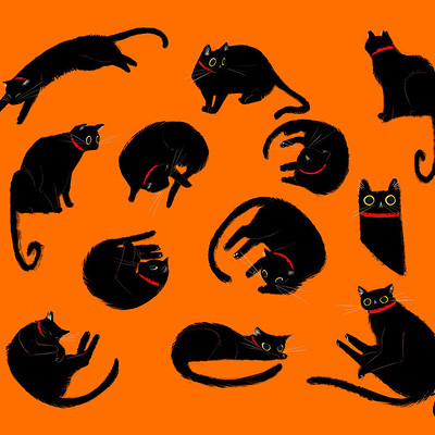 Elena napoli octoberconceptart day7 black cat creaturedesign by elena el dakb6bi
