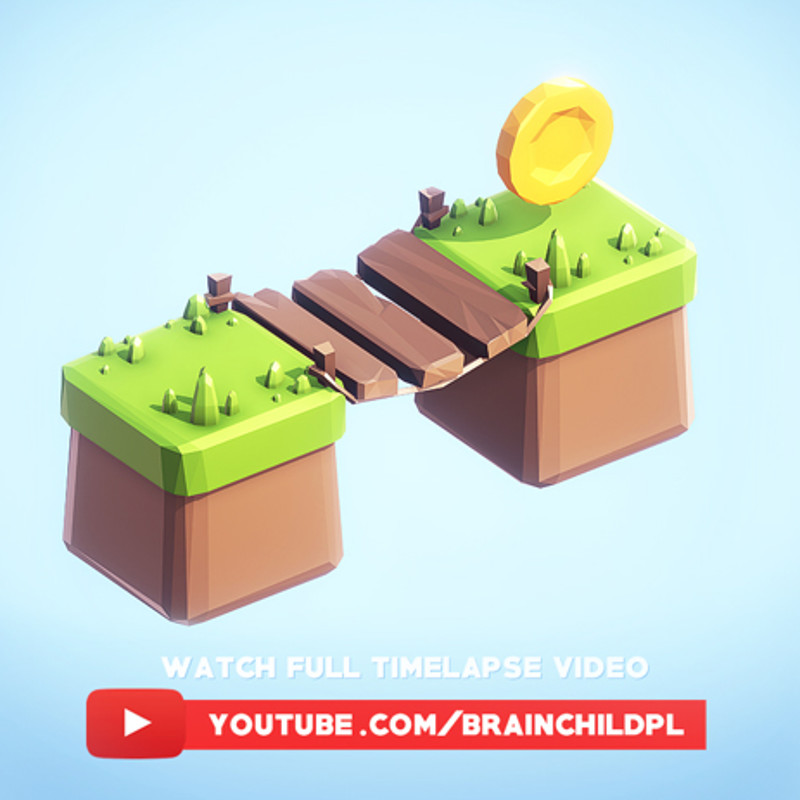 [Timelapse] Super simple low poly 3d game tiles| Unity & Blender