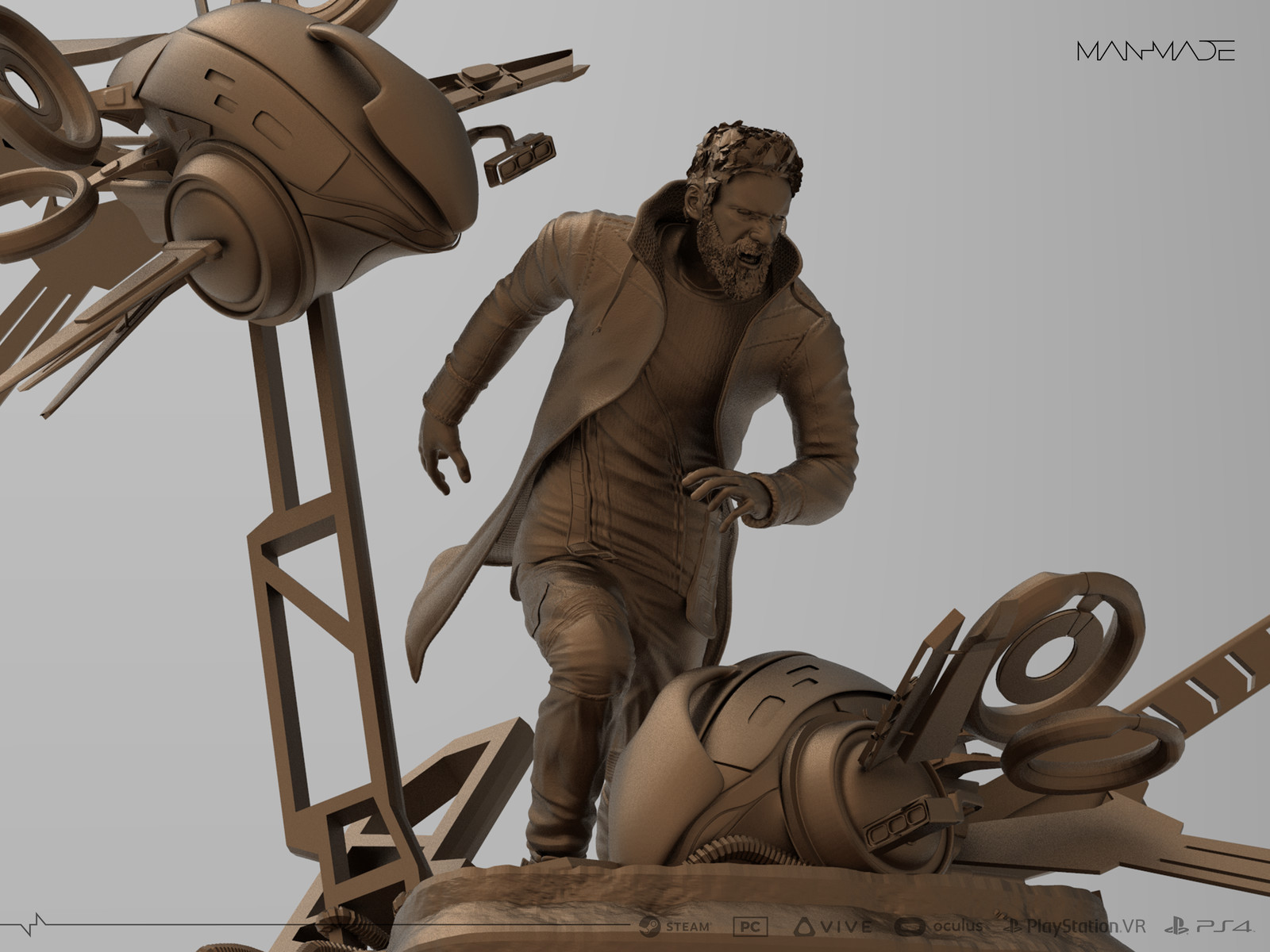 Kaan Premium Statue Design for Kickstarter Reward for ManMade: SciFi Action Adventure Game(30cm)