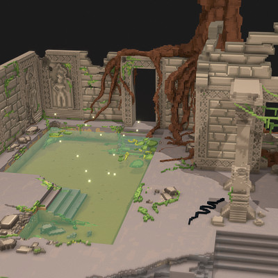 Hidden temple ruins - Voxel