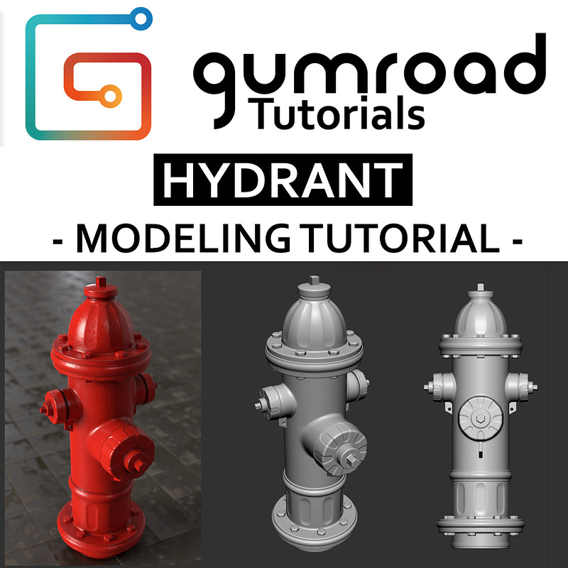 Hydrant - Hard Surface Modeling tutorial - 8€