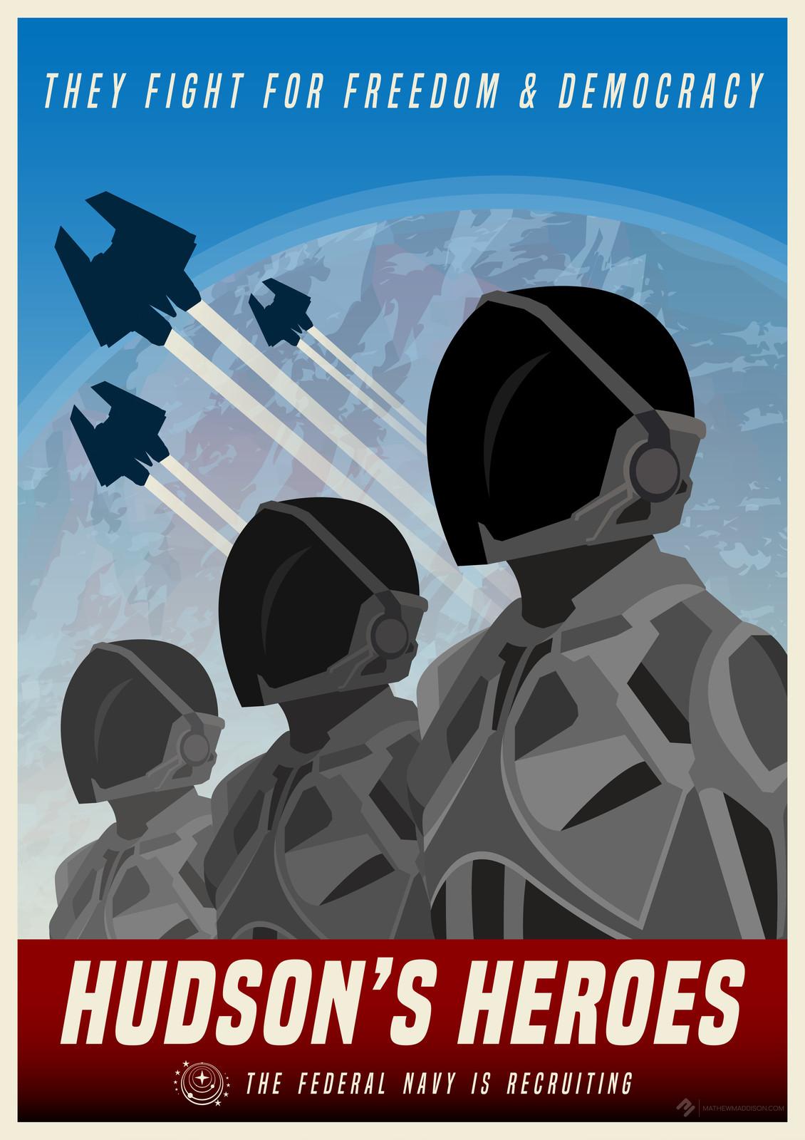 Elite Dangerous - Hudson's Heroes! - Federal Navy Poster