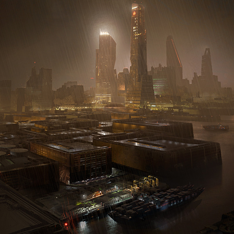 Matte Painting - Scifi port