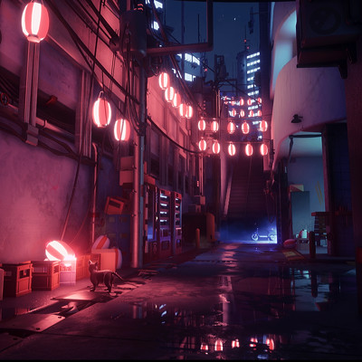 Night Memory Lane - UE4 Lighting study - Stylised Tokyo street