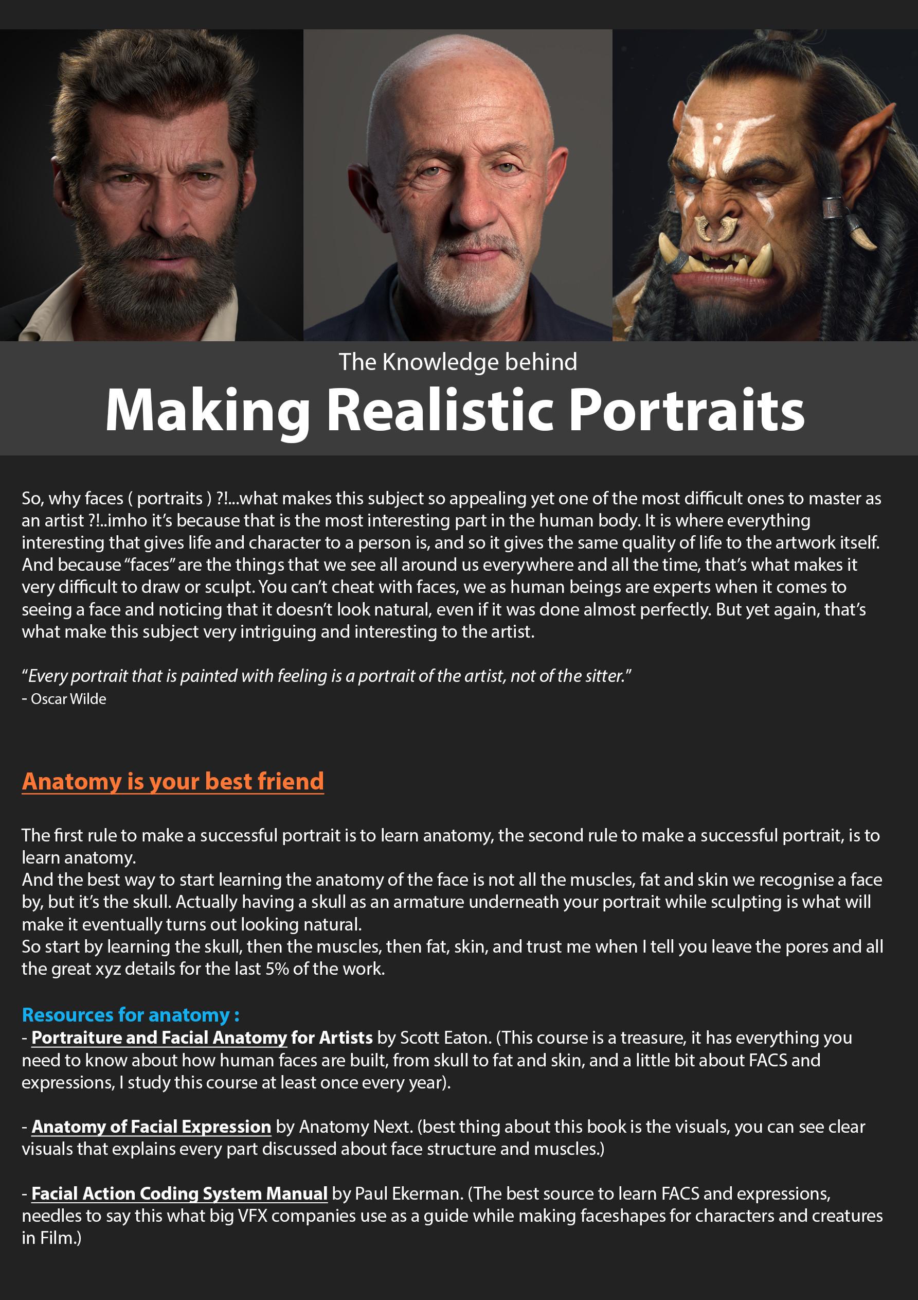 Making realistic 3d portraits