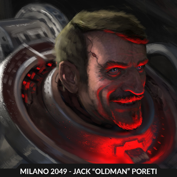 "MILANO 2049 - Jack ""Oldman"" Poretti, concept sketch"