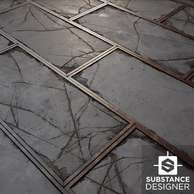 Tiling concrete panels with metal trims (Substance Designer)