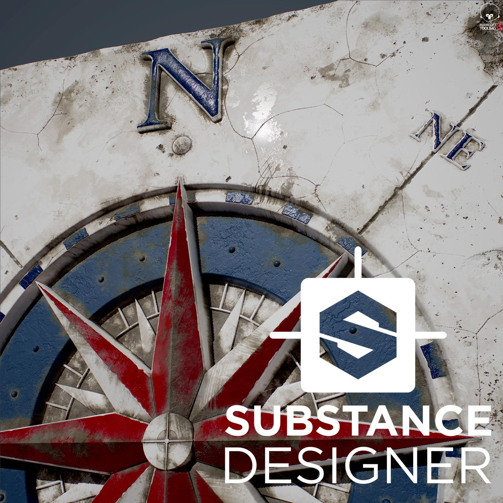 The Compass Rose - 100% procedural, Substance Designer
