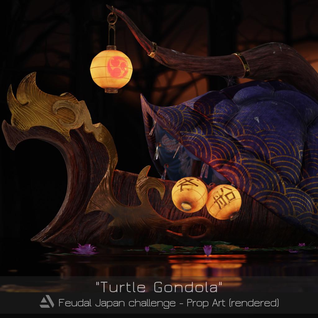 """""""Turtle Gondola"""" - Artstation Feudal Japan challenge"""