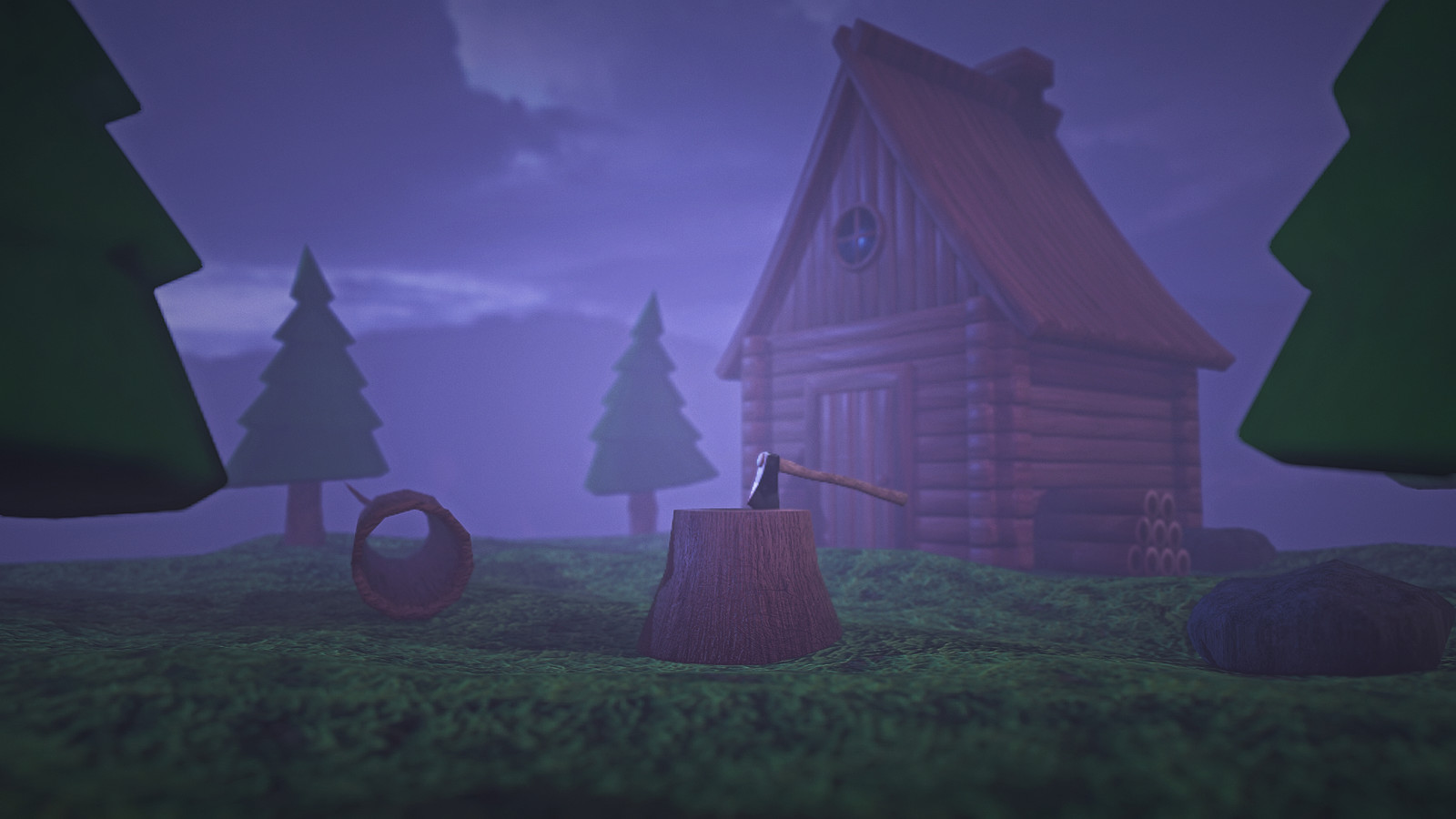 Low Poly Cabin Campsite