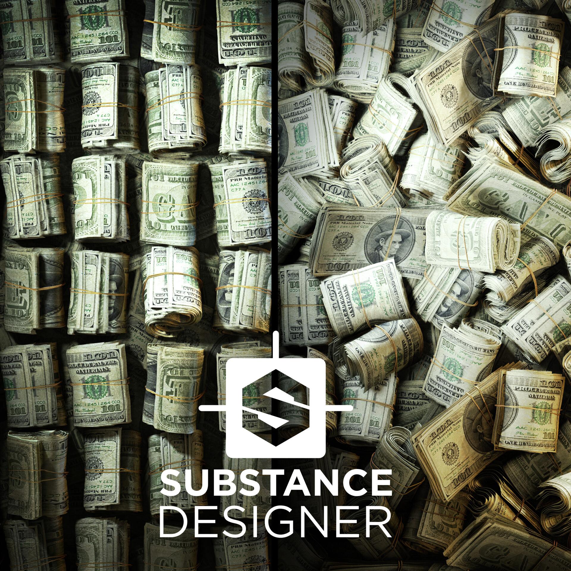 ArtStation - PBR Money Stack Material based on procedural