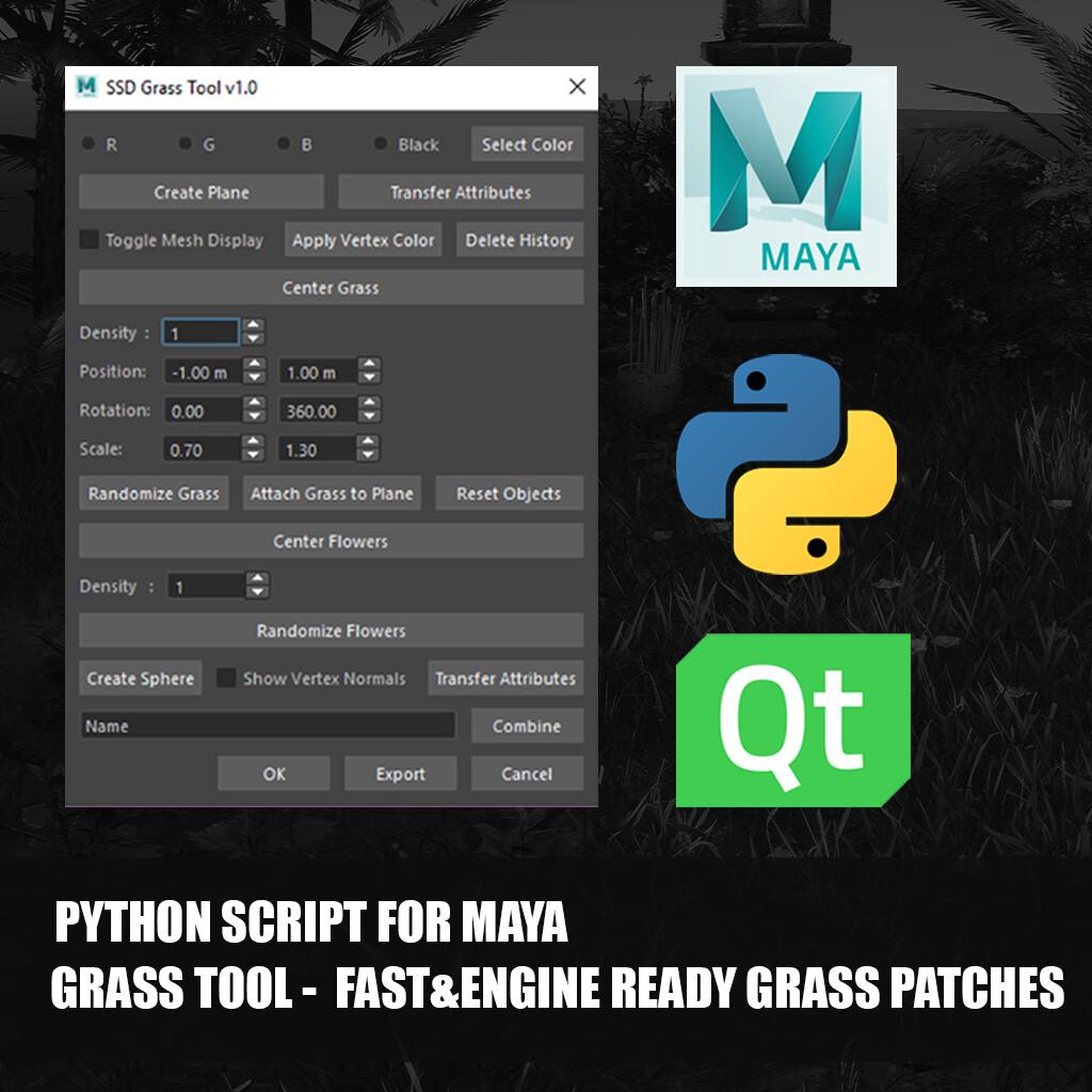 ArtStation - [Python Script for Maya] GRASS TOOL - Fast