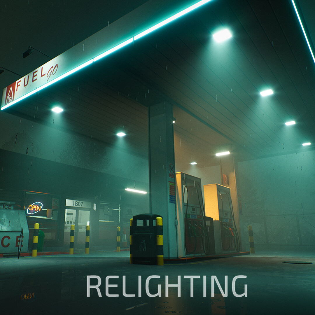 Gas station at Midnight - Relighting