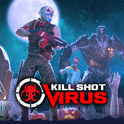 Screens for the mobile game Kill Shot: Virus