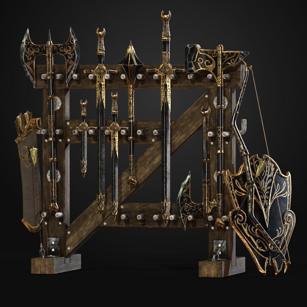 Ebony Weapons Set (complete)