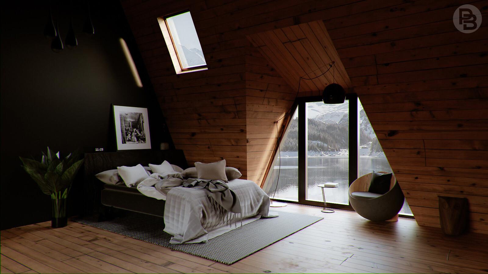 Realistic bedroom in wintery landscape
