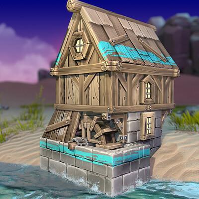 Vlada romaieva water pump medieval rendering3