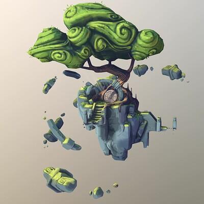 Kima'la, the spirit tree - stylized diorama