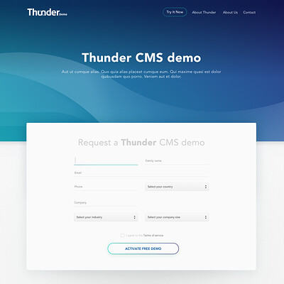 Thunder Demo landing page
