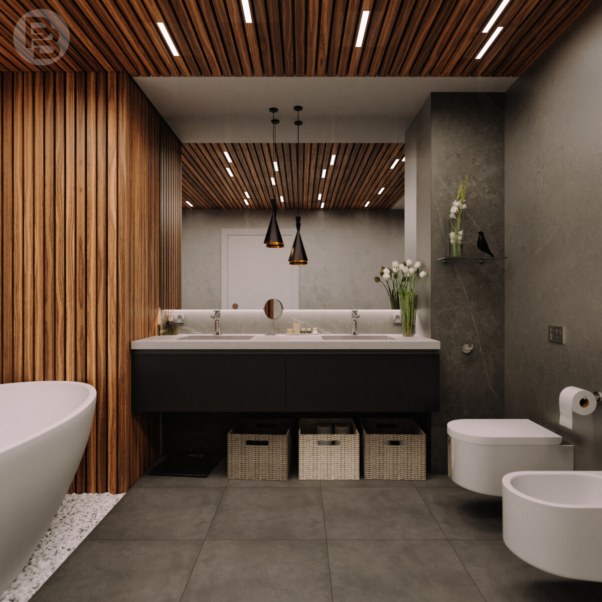 Two areas bathroom